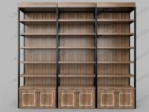 酒类钢木靠墙货架